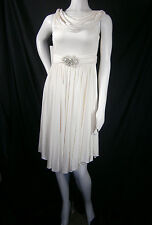 AMSALE WEDDING GOWN SHORT SIZE 4 LIGHT IVORY SILK CREPE L111 JENNA NWT $1,200