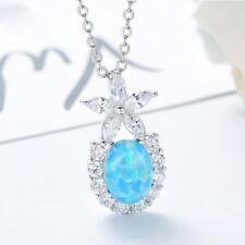 Special Oval Cut Blue Fire Opal 925 Sterling Silver Flower Necklace Pendants