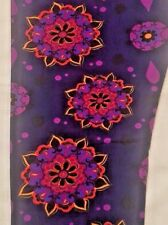 NWT Lularoe TC Floral Mandala Leggings Purple Black Orange Yellow On Navy