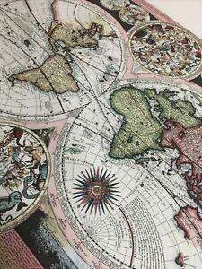 Vnt Map Latin Planisphaerium Terrestre cum utroque Coelesti Hemisphaerio C1600