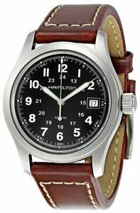 HAMILTON Khaki Field Black Dial BRN Leather QTZ Men's Watch H68411533