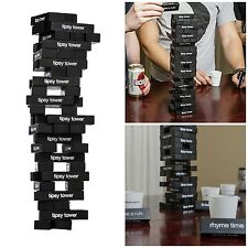 Wooden Block Stacking Tower Game Jenga like Game Drinking Party Game w/ Shots