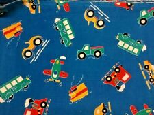 "Blue Corduroy Cotton Kids Fabric Trains Airplanes Cars Bus 1 yard x 60"" 14 Wale"