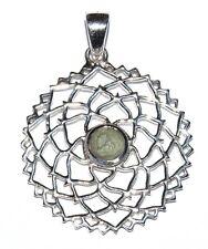 Moldavite Sterling Silver Pendant Crown Chakra Design