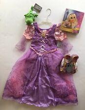 NWT Disney Store Tangled Rapunzel Costume S 5-6 Braid Wig Shoes & Pascal Plush