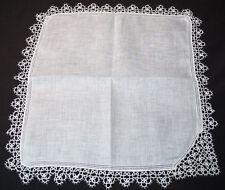 Vintage Tatting Handkerchief White Wedding Lace
