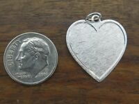 Vintage silver ENGRAVABLE FLORENTINED HEART DISC charm NEW STOCK JMF CO. #F