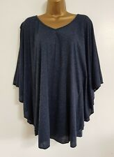NEW Plus Size 16-32 Batwing Sleeve Navy Blue Jersey Tunic Top Blouse Casual