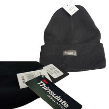 Unisex Térmico Thinsulate Gorro Negro Ideal para Cotidiano uso y Aire libre