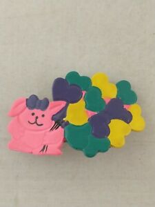 Vtg 1980's Hair Clip Barrette Neon PINK BUNNY with HEART BALLOONS *s