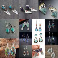 Vintage Turquoise 925 Silver Women Earrings Ear Hook Wedding Dangle Drop Jewelry