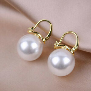 12mm Tahitian white South Sea Shell Pearl Earring 18k gold Flawless jewelry