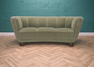 Mid Century Art Deco Danish Green Velour 3 Seat 'Banana' Sofa Settee 1930s 40s