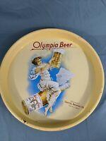 "Vintage Olympia Beer Tray 13"" Metal Tin Sign Advertising Washington Woman Yellow"
