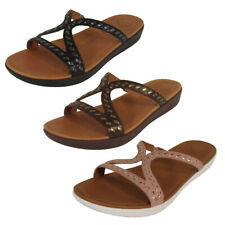 Fitflop Womens Strata Whipstitch Leather Slide Sandal Shoes