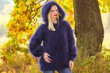 Blue hand knitted mohair sweater thick hoodie fuzzy designer jumper SUPERTANYA