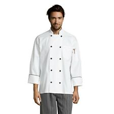 Barcelona chef coat, black knot & piping, sizes Xs to 3Xl, 0408 Free Shipping