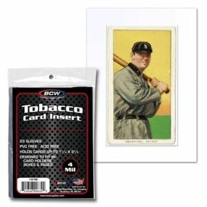 200 PK BCW Tobacco Baseball Card Soft Clear Archival 4 Mil Poly Insert Sleeves
