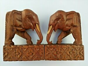 Beautiful Heavy Hand Carved Pair of Elephant Head Bookends With Tusks 7""
