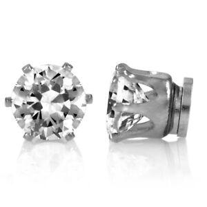 Silver Round Crystal Magnetic Earrings non Pierced Clip on Women Girls Men - 8mm