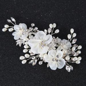 Silk Chiffon Flower Hair Clips Wedding Bridal Crystal Slide Hair Clip Accessory
