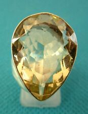 925 Sterling Silver Ring With Pear Cut Lemon Quartz UK M 1/2, US 6.50 (rg2711)