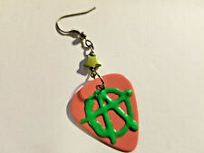 Anarchy guitar pick dropper earring neon pink *Classic 80's movie punk* style