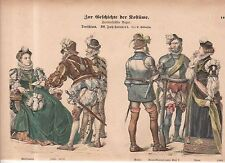 1880 Chromo Fashion print 0f 1560-1570 German Horseman, lady, general,noblewoman