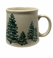 Papel Snow Capped Christmas Trees Coffee Cup Mug Hand Painted Woodsy