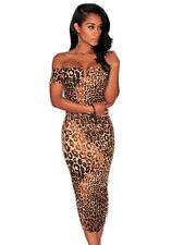 Boldgal Nightclub Print Midi Off-Shoulder Party Women Western Dress
