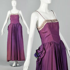 XS 1940s Purple Taffeta Gown Beaded Neckline Long Formal Dress Costume Study 40s