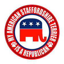 "American Staffordshire Terrier Is Republican 5"" Sticker"