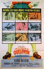 3 WORLDS OF GULLIVER 1960 Kerwin Mathews, Jo Morrow US 1-SHEET POSTER