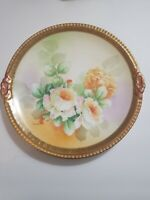 Vintage Decorative Old Abbey  Roses Limoge Plate