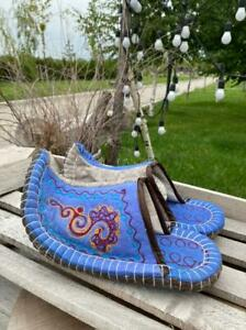 Kazakhstan mens slippers handmade from eco friendly wool felted size 43-44 eur
