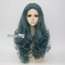Daily Lolita Gray Green 65CM Long Curly Anime Women Cosplay + Wig Cap Hair Wig