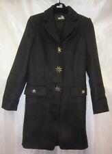 Love Moschino Women's Long Coat Black Star Wool Nylon Size 4 40 Free Shipping