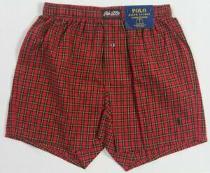 Ralph Lauren Classic Fit Red Plaid Boxer Shorts Black Pony NWT