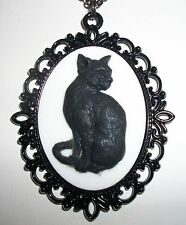 BLACK CAT Feline CAMEO Pendant Necklace Halloween Wiccan Pagan Witch goth Magic
