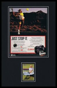 Andre Agassi Signed Framed 1990 Canon EOS Advertising Display