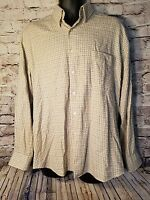 Alan Flusser Men's Shirt Large Plaid Long Sleeve 100% Cotton LG