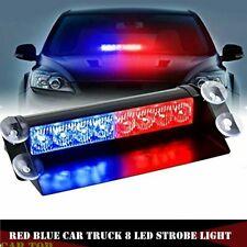 Red Blue 8-LED Car Strobe Light Flash Emergency Police Warning Safety Lamp 12V
