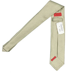 NEW $295 Isaia Pure Silk 7 Fold Tie!   Moss Green and Creme Houndstooth Design