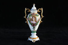 RARE OCCUPIED JAPAN MINIATURE PORTRAIT HAND PAINTED COVERED URN VASE PORCELAIN