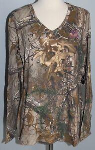 New Ladies REALTREE Xtra Camo Long Sleeve V-Neck T-Shirt Womens S XL 2XL Shirt