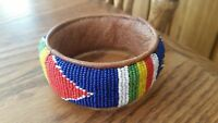 Vintage Hand Made Beaded & Brown Leather Cuff Bracelet-Origin?? - Multi Colored