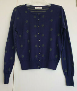 Alannah Hill Love is Life Navy Blue Cardi with Silver Detail & Silver Buttons