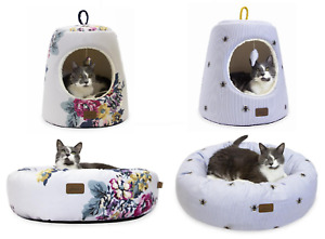 JOULES CAT KITTEN PET BEDS SMALL DOG PUPPY BED IGLOO DOUGHNUT FLORAL, BEE STRIPE
