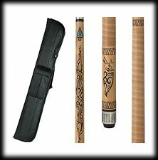 New Outlaw OL33 Pool Cue Stick - Thunder Wolf Branded Maple 18 - 21 oz & Case