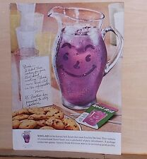 1959 magazine ad for Kool-Aid - Frosty smiling pitcher of purple Kool-Aid